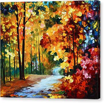 Leaves Canvas Print - Red Fall by Leonid Afremov