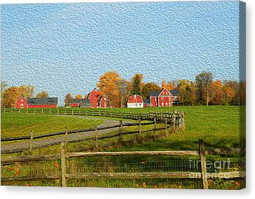 Red Farm House And Barns Canvas Print
