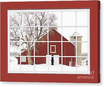 Red Farm House Picture Window Red Barn View  Canvas Print