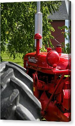 Red Farm Tractor Canvas Print by Heather Allen
