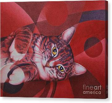 Red Feline Geometry Canvas Print by Pamela Clements