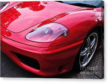 Red Ferrari - Front End Canvas Print by Kaye Menner
