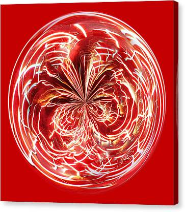 Red Fireworks Orb Canvas Print by Paulette Thomas