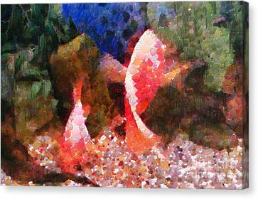 Red Fishes Painting Canvas Print by Magomed Magomedagaev
