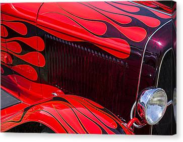 Red Flames Hot Rod Canvas Print by Garry Gay