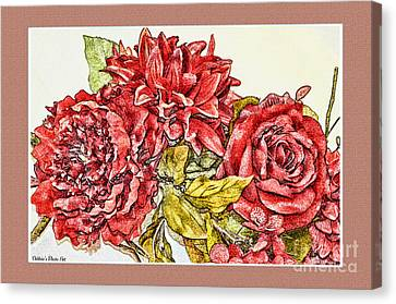 Red Floral Photoart Canvas Print by Debbie Portwood