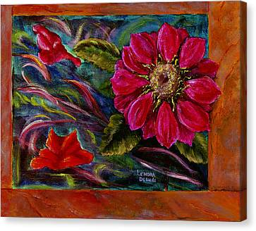 Canvas Print featuring the painting Red Flower In Rust And Green by Lenora  De Lude