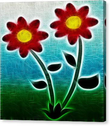 Red Flowers - Digitally Created And Altered With A Filter Canvas Print by Gina Lee Manley
