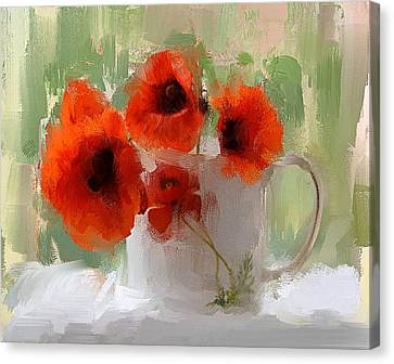 Interior Still Life Canvas Print - Red Flowers In A Cup by Yury Malkov