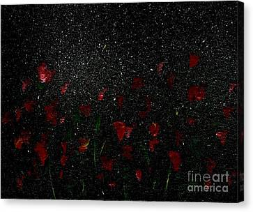 Canvas Print featuring the painting Red Flowers In Moonlight by Becky Lupe