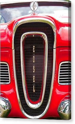 Red Ford Edsel Grill Detail Canvas Print by Mick Flynn