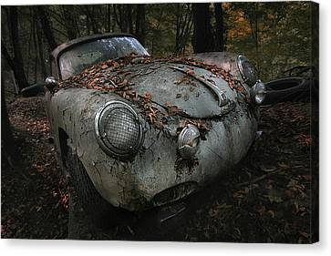 Rusted Cars Canvas Print - Red Forest by Holger Droste