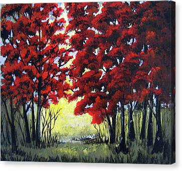 Canvas Print featuring the painting Red Forest by Suzanne Theis