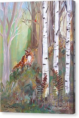Red Fox And Cardinals Canvas Print by Robin Maria Pedrero