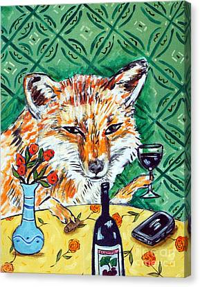 Red Fox At The Wine Bar Canvas Print by Jay  Schmetz
