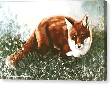 Canvas Print featuring the painting Red Fox Hunting by DiDi Higginbotham
