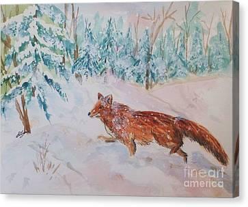 Red Fox - Winter Dawn 2 Canvas Print