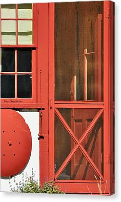 Screen Doors Canvas Print - Red Framed Window And Door by Kae Cheatham