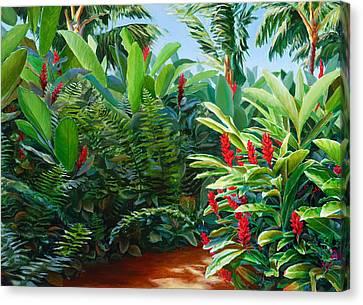 Red Garden Hawaiian Torch Ginger Canvas Print
