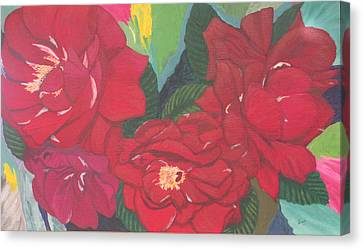 Red Garden Roses Canvas Print by Hilda and Jose Garrancho