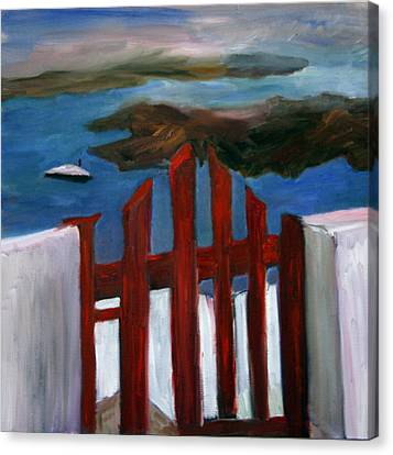 Canvas Print featuring the painting Red Gate To Atlantis by Michael Helfen