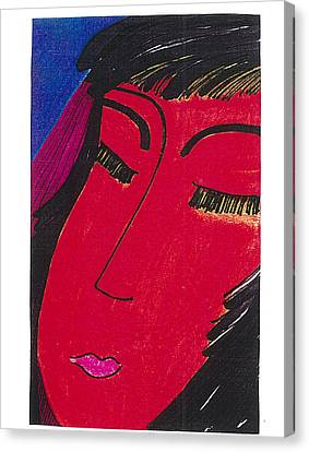 Canvas Print featuring the drawing Red Geisha by Don Koester