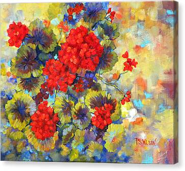Red Geraniums II Canvas Print by Peggy Wilson
