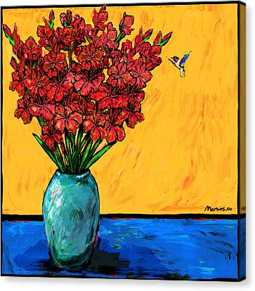 Red Glads With Hummingbird Canvas Print by Dale Moses