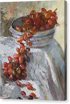 Red Grapes Canvas Print by Ylli Haruni