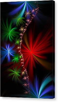 Red Green And Blue Fractal Stars Canvas Print by Matthias Hauser