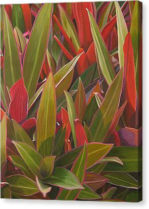 Canvas Print featuring the painting Red Green And Purple by Thu Nguyen