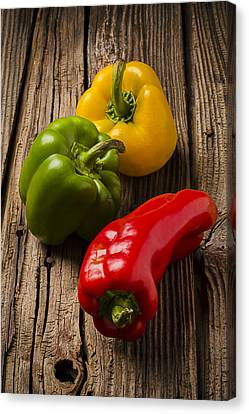 Foodstuffs Canvas Print - Red Green Yellow Peppers by Garry Gay