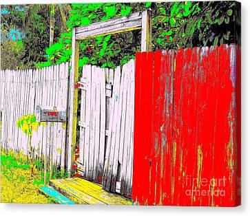 Red Grey Gate 0552 14 Canvas Print by Nina Kaye