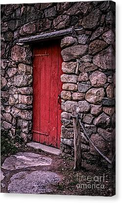 Wayside Inn Grist Mill Canvas Print - Red Grist Mill Door by Edward Fielding