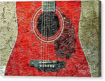 Red Guitar Center - Digital Painting - Music Canvas Print by Barbara Griffin