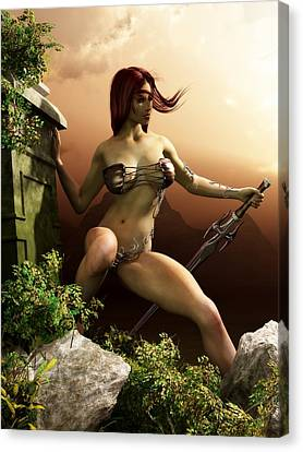 Red Haired Barbarian Woman Canvas Print by Kaylee Mason