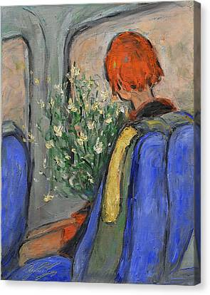 White Gardenia Canvas Print - Red-haired Girl On A Sydney Train by Xueling Zou