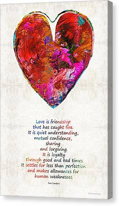 Red Heart Art - Love Is - By Sharon Cummings Canvas Print by Sharon Cummings