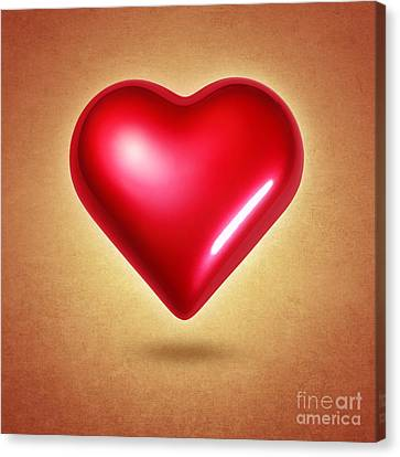 Heartbeat Canvas Print - Red Heart by Carlos Caetano