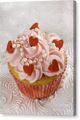Mothersday Canvas Print - Red Heart Cupcakes  by Iris Richardson