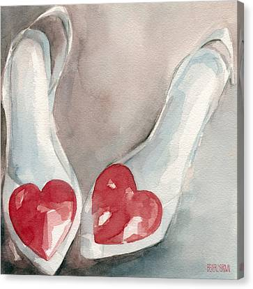 Heart Canvas Print - Red Heart Paintings Of Shoes Print by Beverly Brown Prints