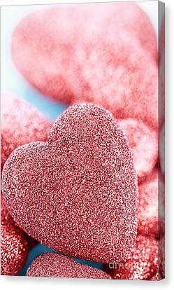 Red Hearts Canvas Print by Stephanie Frey