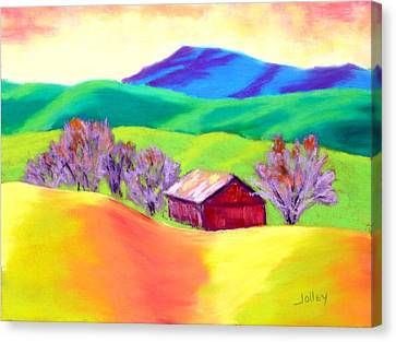 Canvas Print featuring the painting Red Hill Barn by Nancy Jolley
