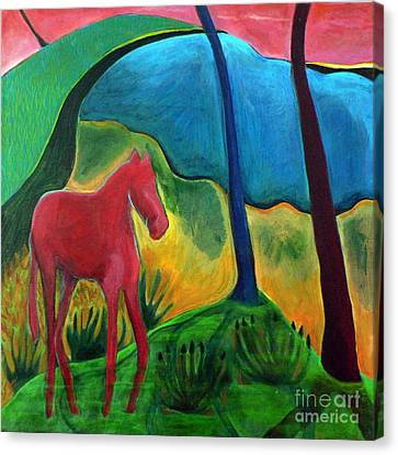 Canvas Print featuring the painting Red Horse by Elizabeth Fontaine-Barr