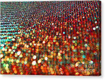 Red Hot Bokeh Bling Canvas Print by Debbie Portwood