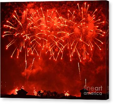 Red Hot Fireworks Canvas Print by Darla Wood