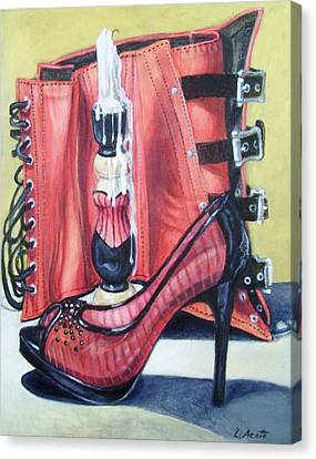 Canvas Print featuring the painting Red Hot by Laura Aceto