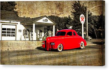 Red Hot Rod Cruising Route 66 Canvas Print by Thomas Woolworth