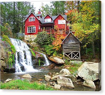 Red House By The Waterfall Canvas Print