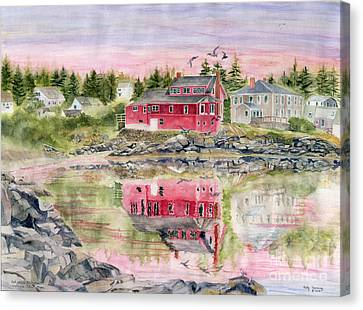 Red House Reflection Canvas Print by Melly Terpening